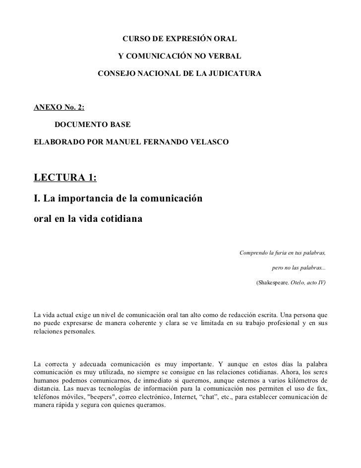 CURSO DE EXPRESIÓN ORAL                              Y COMUNICACIÓN NO VERBAL                      CONSEJO NACIONAL DE LA ...