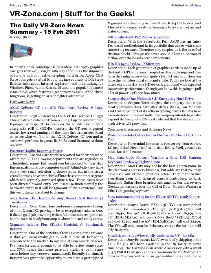 VR-Zone Technology News | Stuff for the Geeks! Issue #2