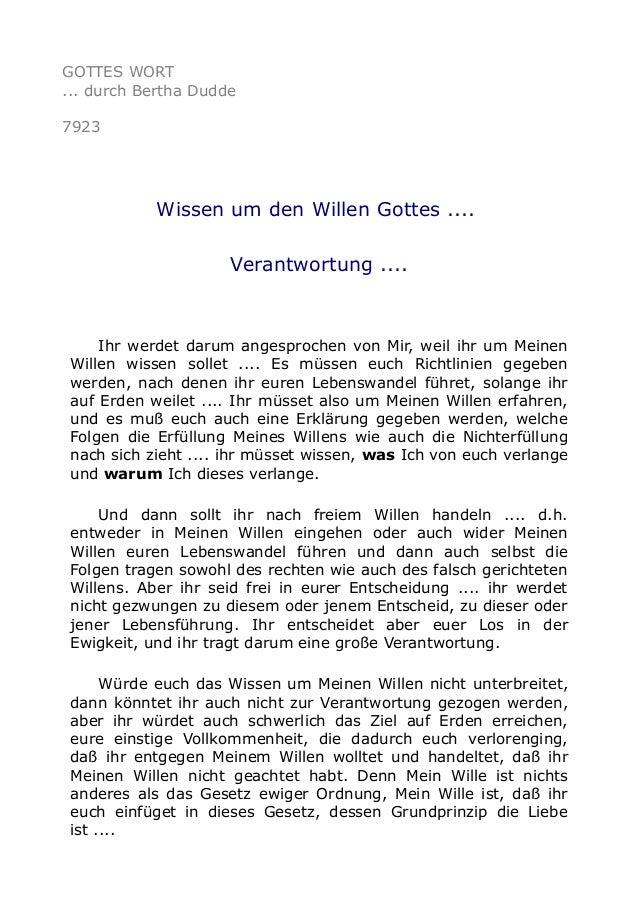 GOTTES WORT ... durch Bertha Dudde 7923 Wissen um den Willen Gottes .... Verantwortung .... Ihr werdet darum angesprochen ...