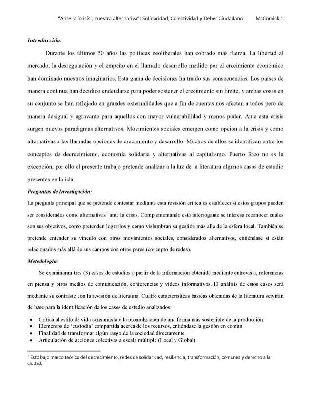 """""""Ante la 'crisis', nuestra alternativa"""" Solidaridad, Colectividad y Deber Ciudadano - final"""