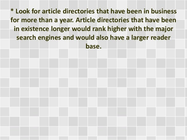 Article Directories and Article Marketing?