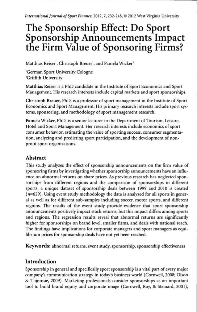 International Journal of Sport Finance, 2012, 7, 232-248, © 2012 West Virginia UniversityThe Sponsorship Effect: Do SportS...