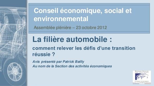 Conseil économique, social etenvironnementalAssemblée plénière – 23 octobre 2012La filière automobile :comment relever les...