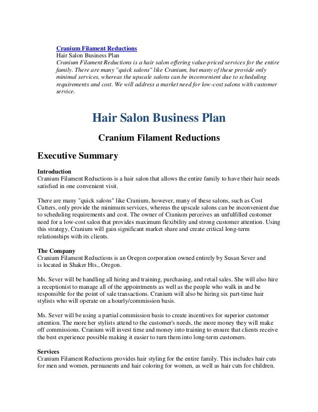 Free business plan for hair salon