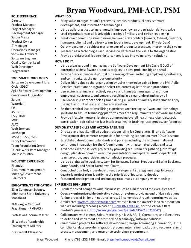 Agile project management sample resume