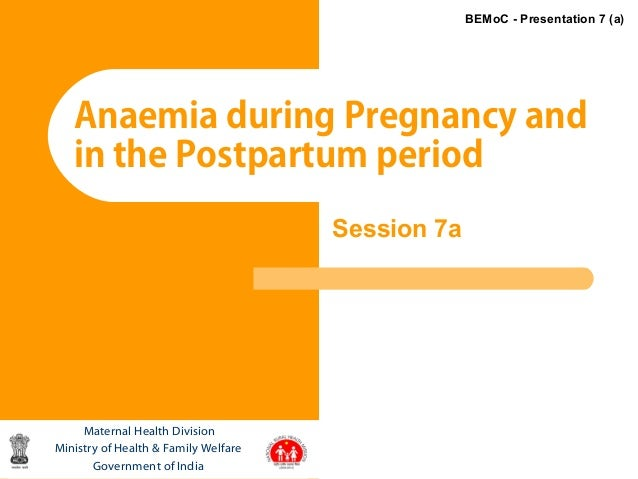 1Anaemia during Pregnancy andin the Postpartum periodMaternal Health DivisionMinistry of Health & Family WelfareGovernment...