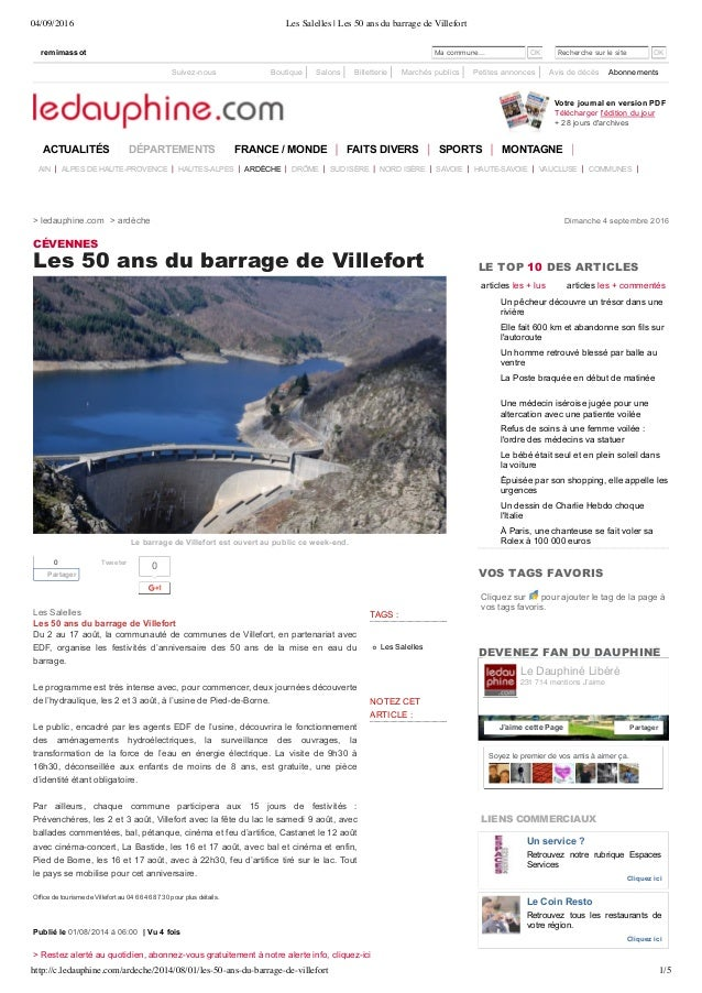 04/09/2016 Les Salelles | Les 50 ans du barrage de Villefort http://c.ledauphine.com/ardeche/2014/08/01/les-50-ans-du-barr...