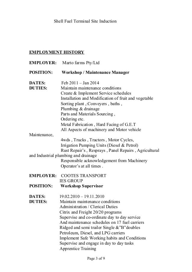 gas station manager resumes