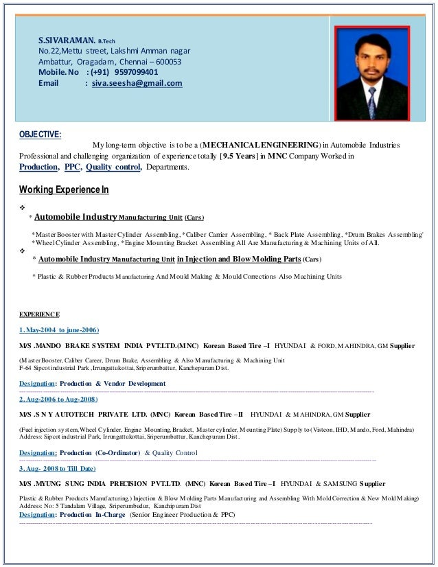 career objective for resume for automobile engineer 28