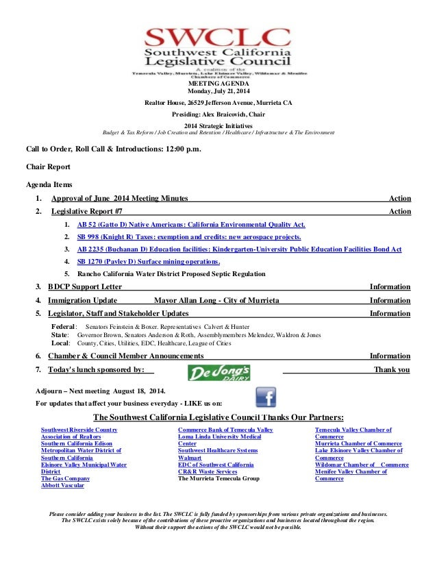 Southwest California Legislative Council - July 2014