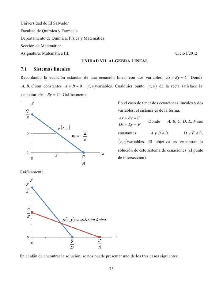 Universidad de El SalvadorFacultad de Química y FarmaciaDepartamento de Química, Física y MatemáticaSección de MatemáticaA...