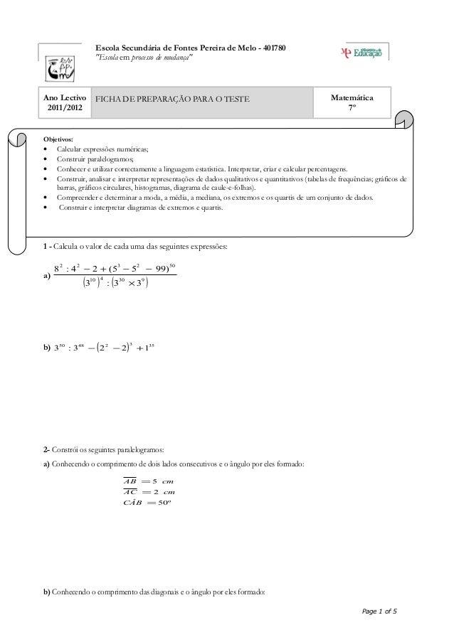 """Escola Secundária de Fontes Pereira de Melo - 401780 """"Escola em processo de mudança"""" Ano Lectivo 2011/2012 FICHA DE PREPAR..."""