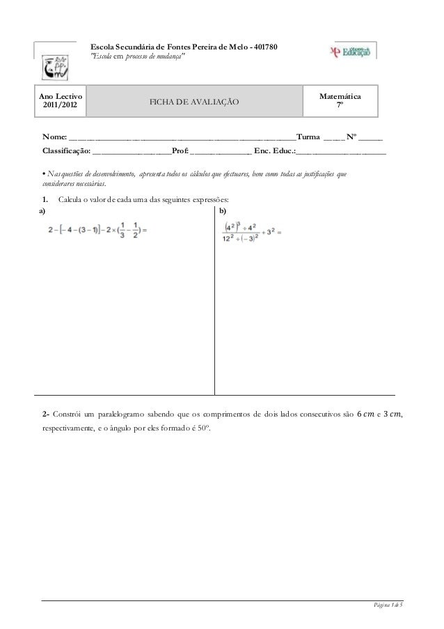 """Página 1 de 5 Escola Secundária de Fontes Pereira de Melo - 401780 """"Escola em processo de mudança"""" Ano Lectivo 2011/2012 F..."""
