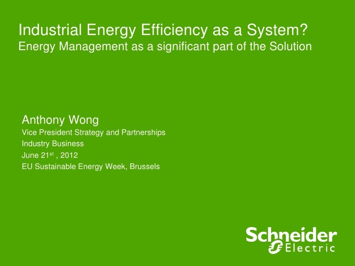 Industrial energy efficiency as a system, Anthony Wong, Schneider Electric, France