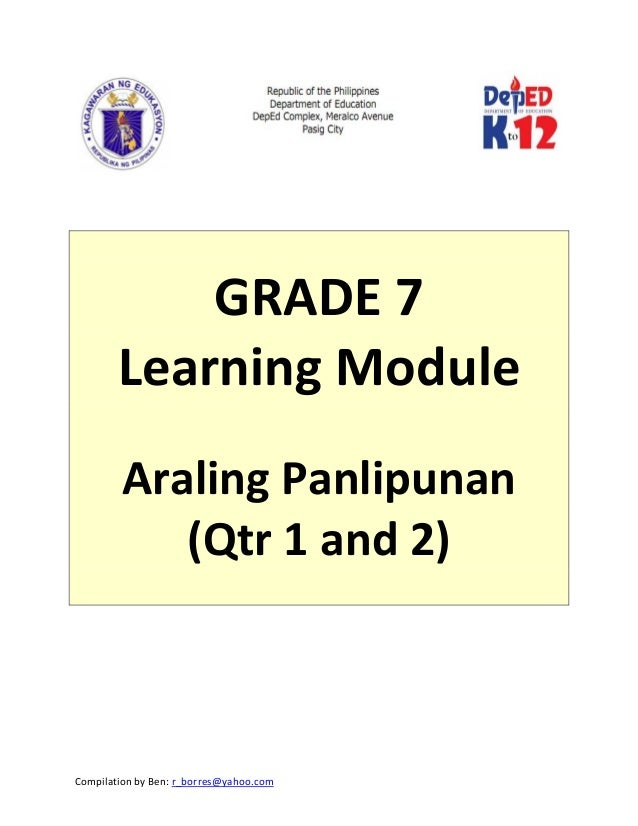 Grade 7 Learning Module in Araling Panlipunan (Quarter 1 to 2)