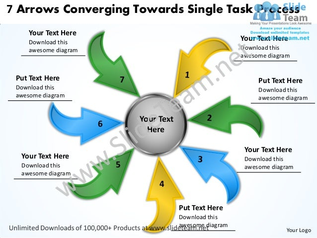 7 Arrows Converging Towards Single Task Process     Your Text Here     Download this                                      ...