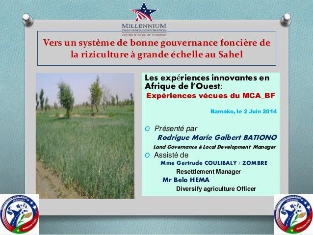 Vers un système de bonne gouvernance foncière de la riziculture à grande échelle au Sahel Les expériences innovantes en Af...