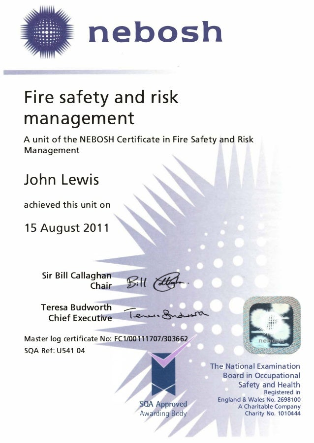 nebosh fire risk management essay The nebosh certificate in fire safety and risk management will help  organisations to  on 01792 284400 for advice on achieving the necessay  qualifications.