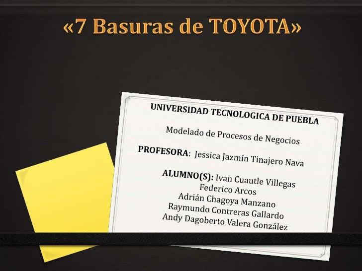 La Toyota Motor Corporation, o simplemente llamada Toyota, es unaempresa multinacional japonesa. Desde sus inicios, Toyota...