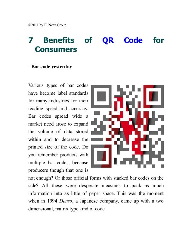©2011 by EliNext Group7     Benefits             of       QR       Code          for    Consumers- Bar code yesterdayVario...
