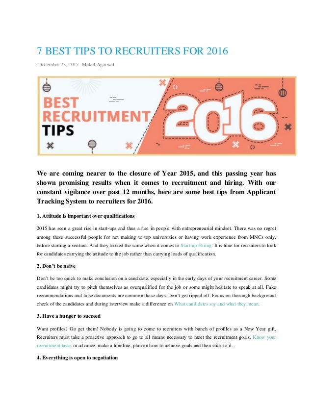 7 Best Tips To Recruiters For 2016