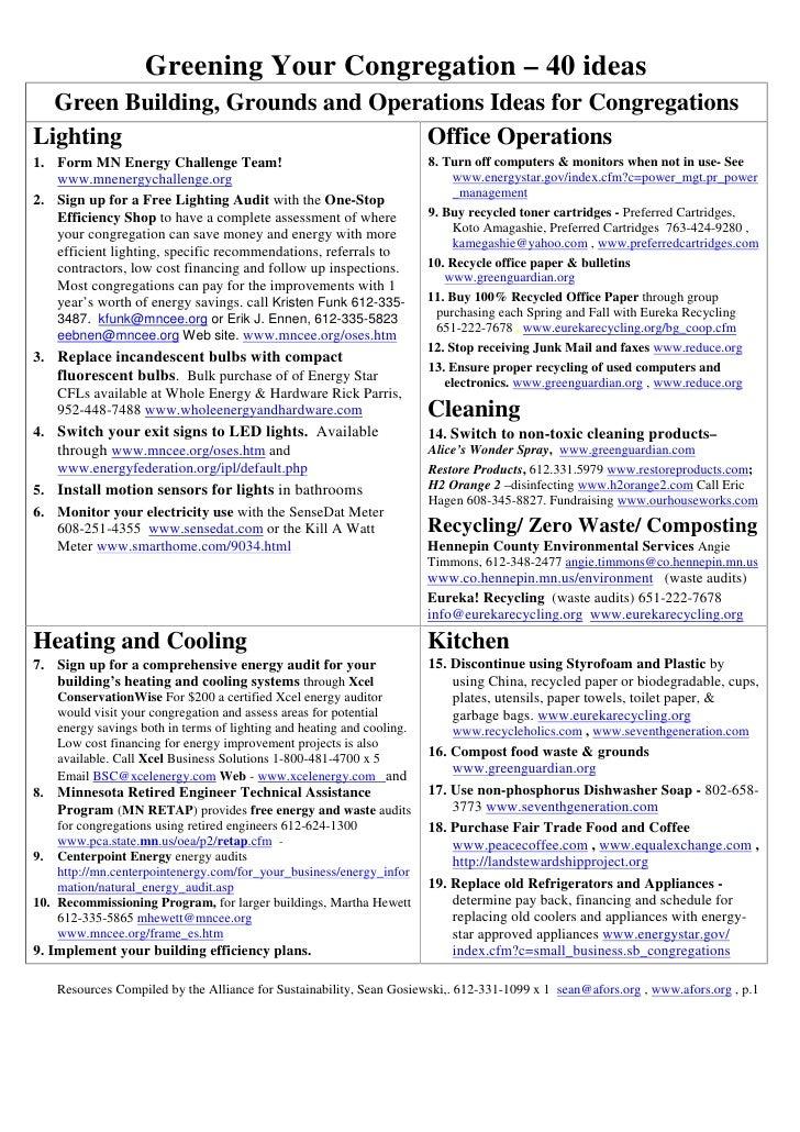 Greening Your Congregation - 40 ideas