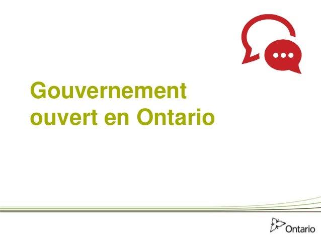 Gouvernement ouvert en Ontario