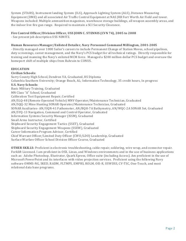 Surface warfare officer sample resume