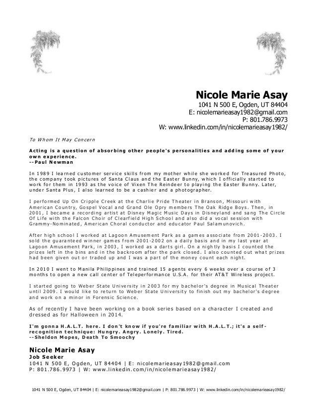 Cover letter theatre