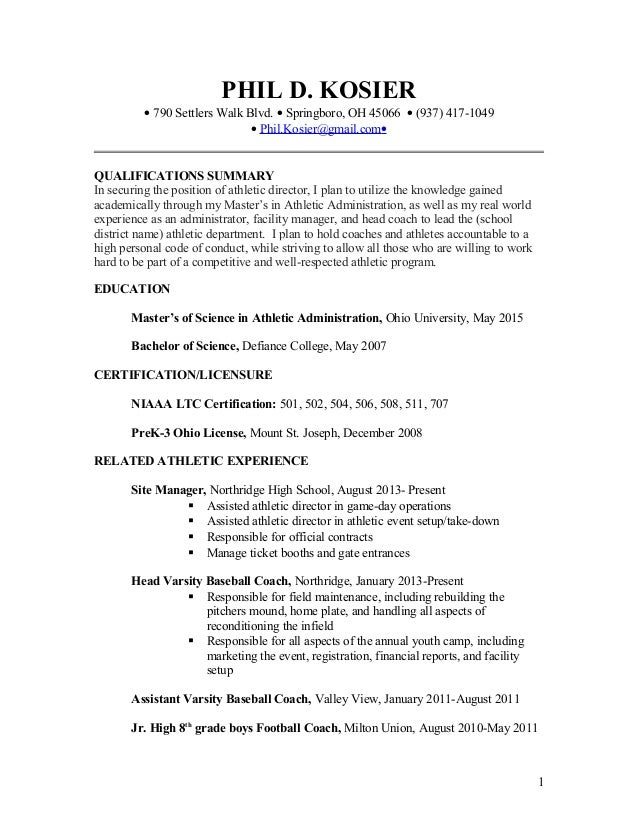 Head Athletic Trainer Cover Letter