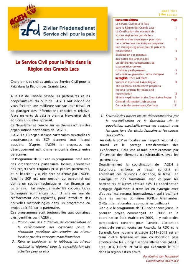 MARS 2011 1i èr e Edition Le Service Civil pour la Paix dans la Région des Grands Lacs Dans cette édition Page Le Service ...