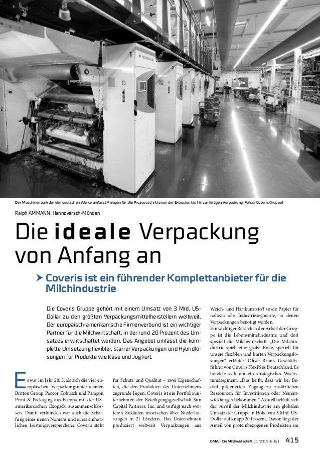 DMW · Die Milchwirtschaft 11/2015 (6 Jg.) 415 Ralph Ammann, Hannoversch-Münden Die ideale Verpackung von Anfang an h Cover...