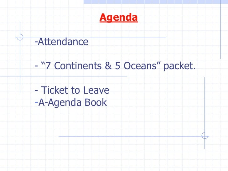 """Agenda-Attendance- """"7 Continents & 5 Oceans"""" packet.- Ticket to Leave-A-Agenda Book"""