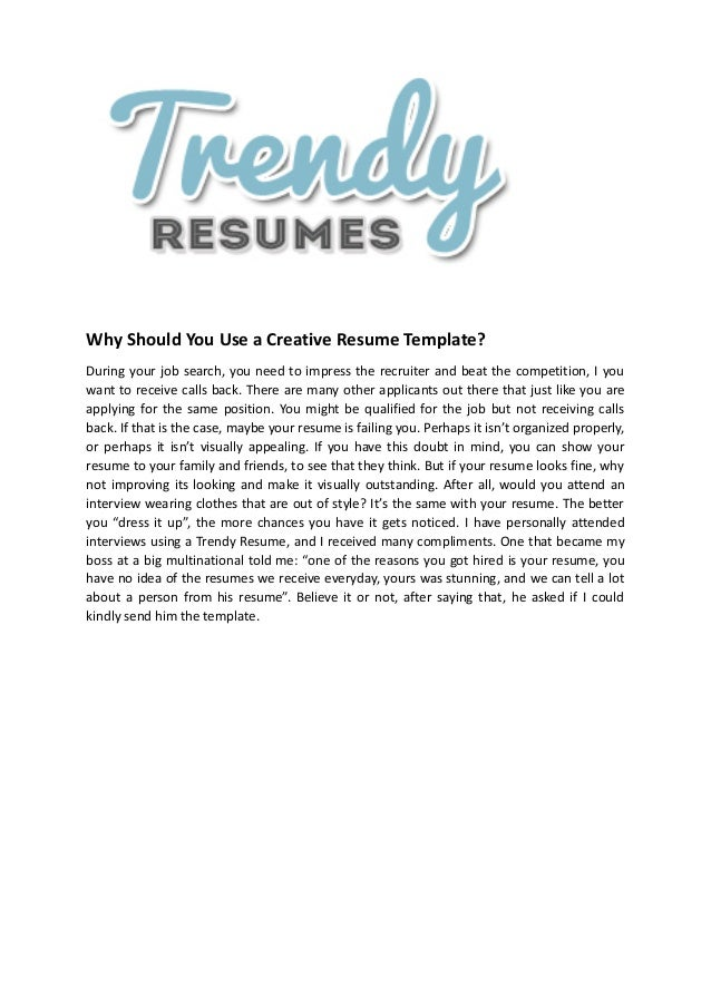 7 creative resume templates for word by trendy resumes