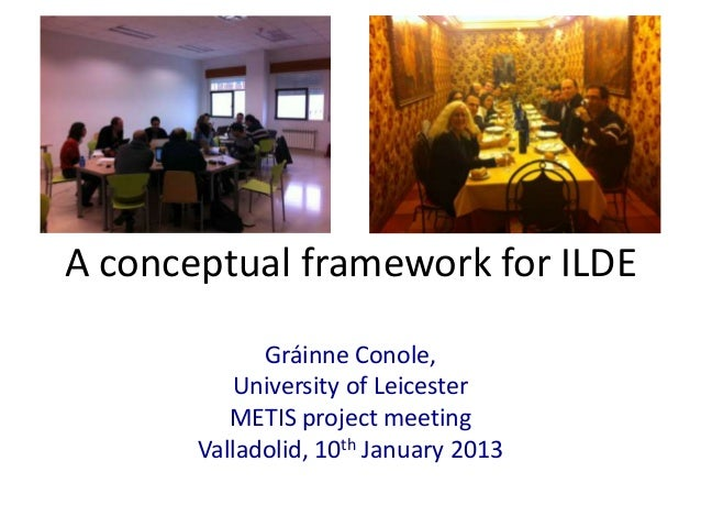 A conceptual framework for ILDE             Gráinne Conole,          University of Leicester          METIS project meetin...