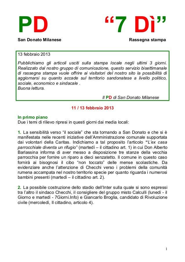 """PDSan Donato Milanese                                                 """"7 Dì""""            Rassegna stampa13 febbraio 2013Pub..."""