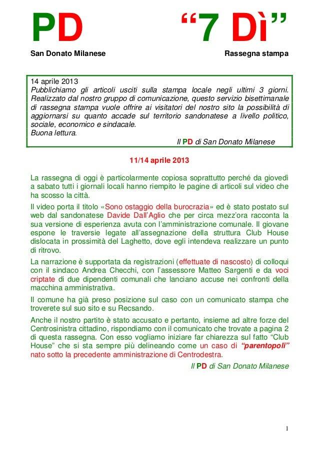 """PDSan Donato Milanese                                               """"7 Dì""""         Rassegna stampa14 aprile 2013Pubblichia..."""