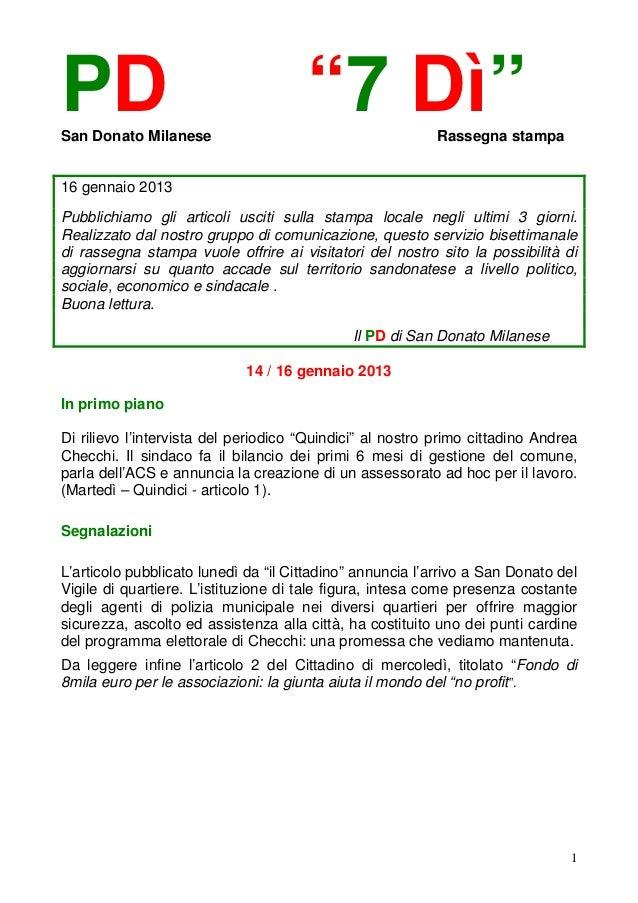 """PDSan Donato Milanese                                      """"7 Dì""""              Rassegna stampa16 gennaio 2013Pubblichiamo ..."""
