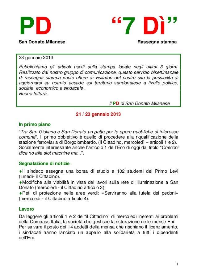 """PDSan Donato Milanese                                               """"7 Dì""""       Rassegna stampa23 gennaio 2013Pubblichiam..."""