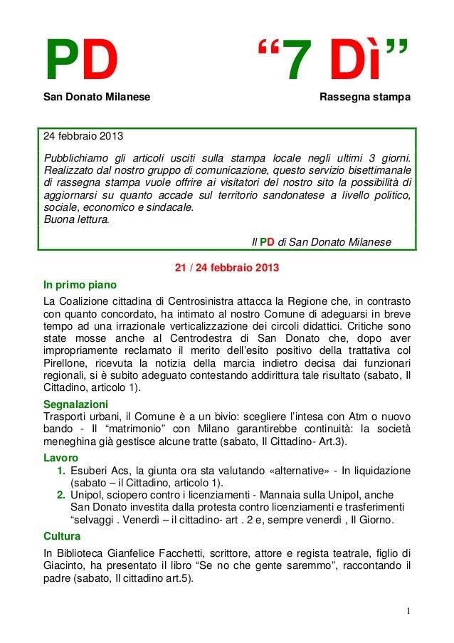 """PDSan Donato Milanese                                               """"7 Dì""""         Rassegna stampa24 febbraio 2013Pubblich..."""