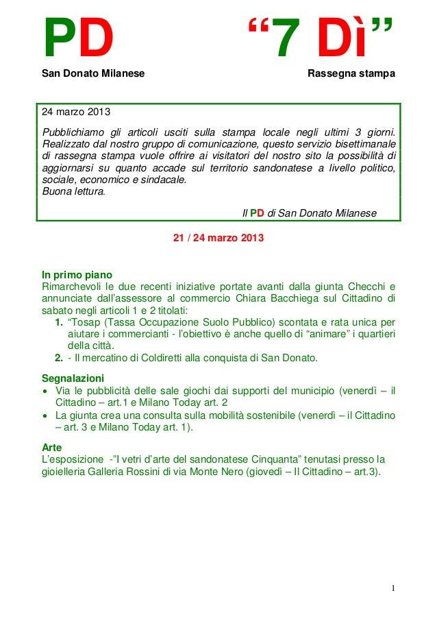 """PDSan Donato Milanese                                               """"7 Dì""""         Rassegna stampa24 marzo 2013Pubblichiam..."""