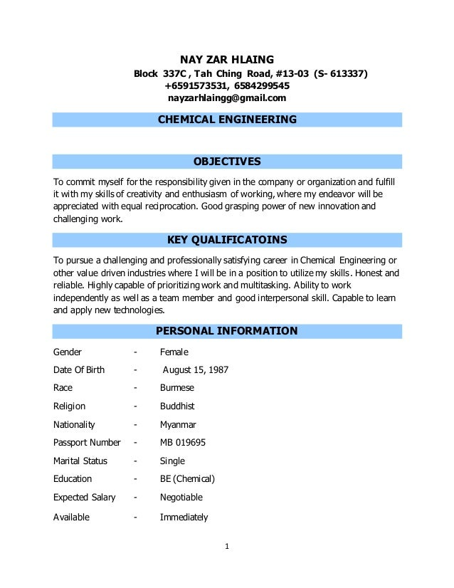 chemical engineer phd resume best college admission