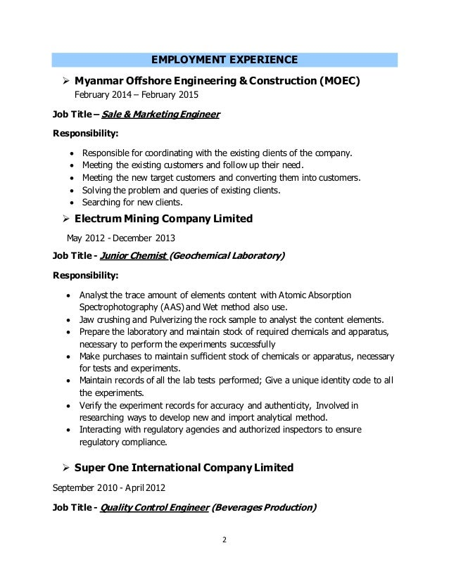 Examples Of Resumes Naukri Resume Format Sample For Freshers Resume For Job  Malaysia  Chemical Engineer Resume