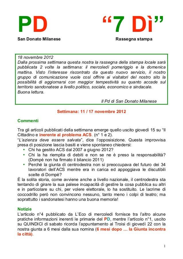 """PDSan Donato Milanese                                              """"7 Dì""""  Rassegna stampa18 novembre 2012Dalla prossima s..."""