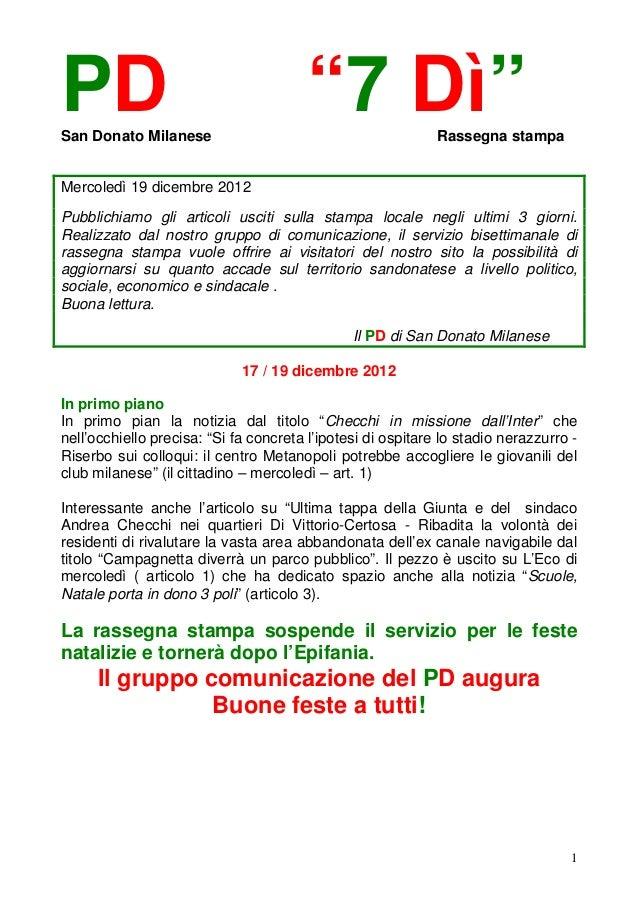 """PDSan Donato Milanese                                        """"7 Dì""""               Rassegna stampaMercoledì 19 dicembre 201..."""