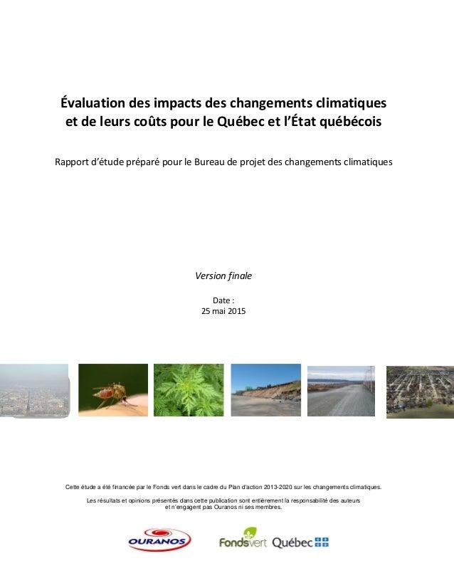 Évaluationdesimpactsdeschangementsclimatiques etdeleurscoûtspourleQuébecetl'Étatquébécois   Rapport...