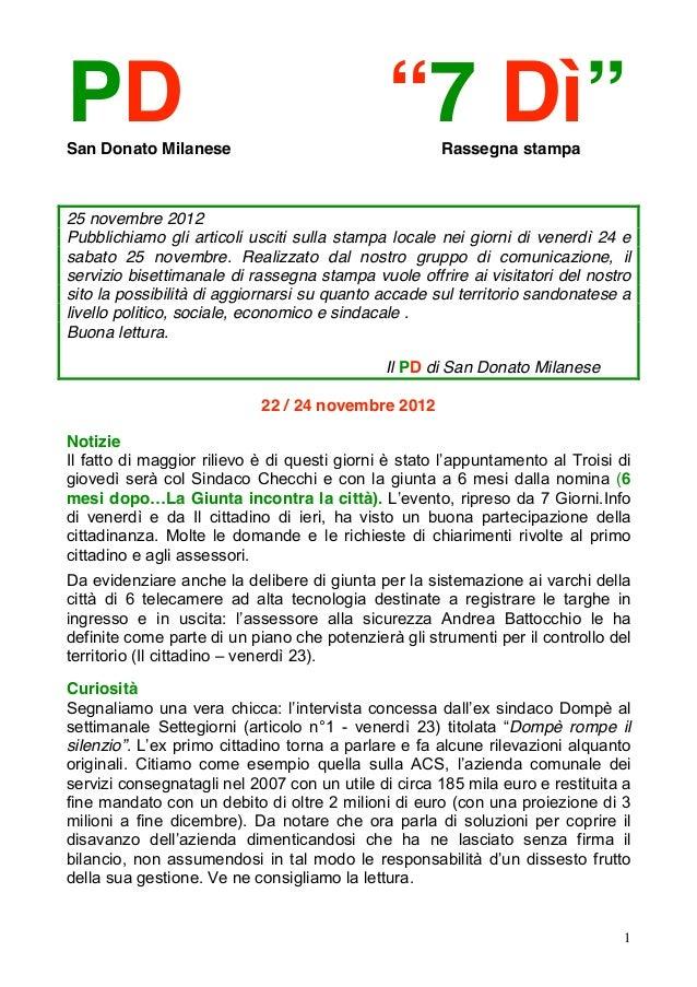 """PDSan Donato Milanese                                              """"7 Dì""""  Rassegna stampa25 novembre 2012Pubblichiamo gli..."""
