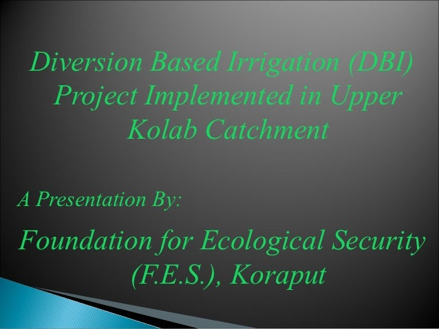 Diversion Based Irrigation (DBI)  Project Implemented in Upper         Kolab CatchmentA Presentation By:Foundation for Eco...