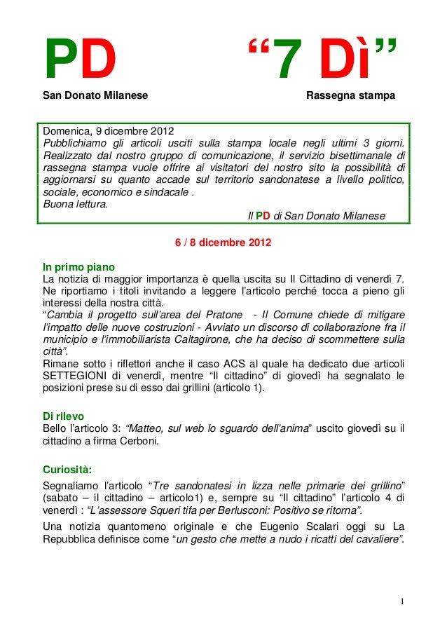 """PDSan Donato Milanese                                            """"7 Dì""""        Rassegna stampaDomenica, 9 dicembre 2012Pub..."""