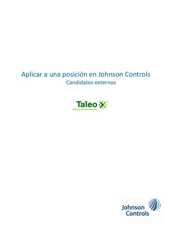 Aplicar a una posición en Johnson Controls Candidatos externos